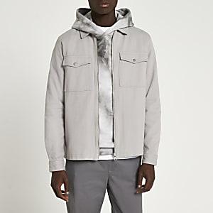 Langärmeliges Hemd in Grau mit Reißverschluss