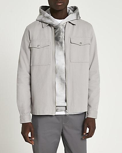Grey zip front long sleeve shacket