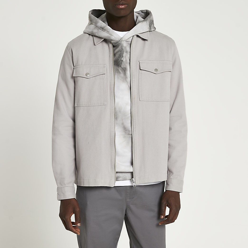 Grey zip front long sleeve shacket