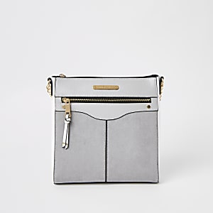 Grey zip front structured messenger bag
