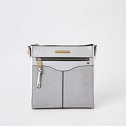 Grey zip front structured messenger bag
