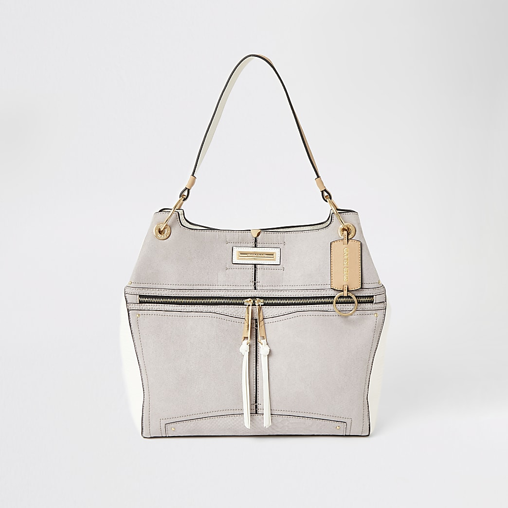 Grey zip front utility slouch bag
