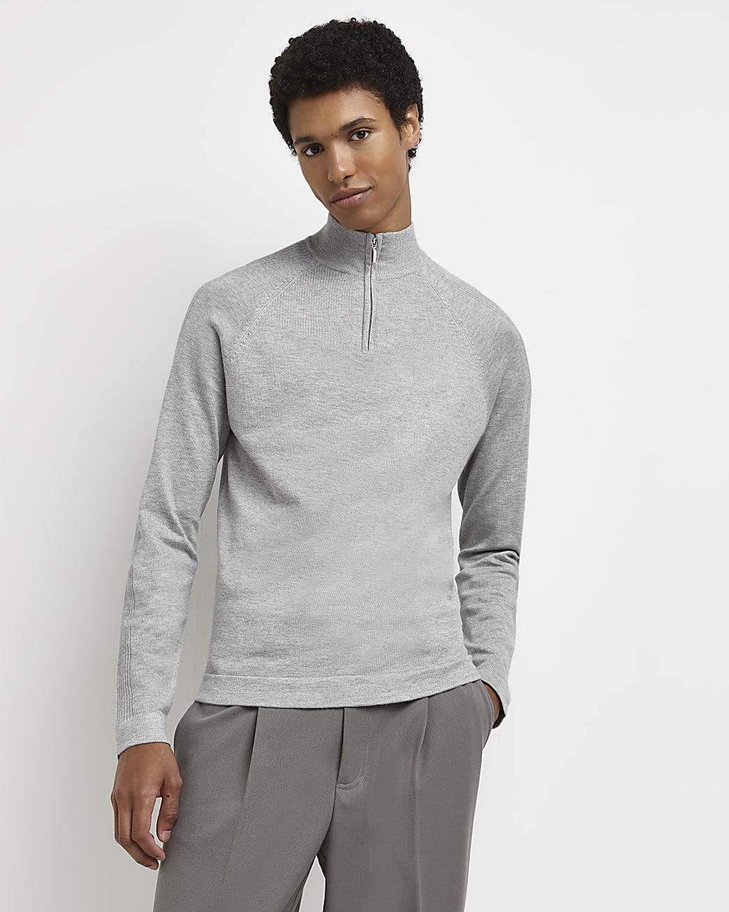 Grey zip funnel neck slim fit jumper
