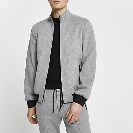 Grey zip high neck bomber jacket