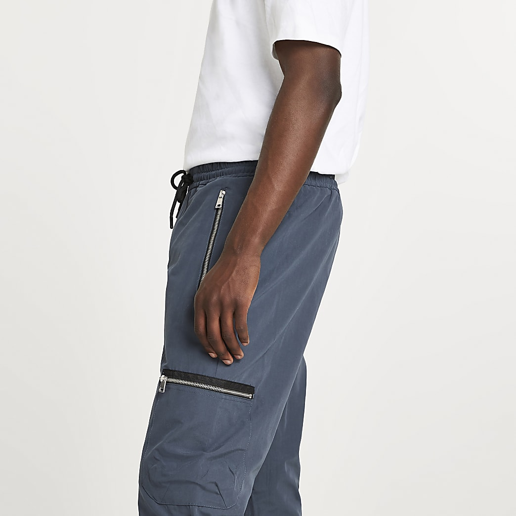 Grey zip pocket cargo joggers