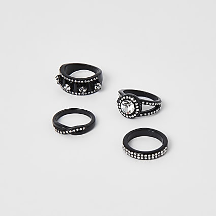 Gunmetal colour western bling ring pack