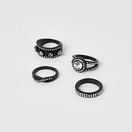 Gunmetal colour western bling ring pack