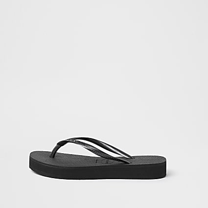 Haviana Black Slim Flatform Flip Flop