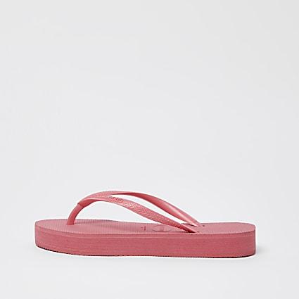 Haviana pink slim platform flip flops