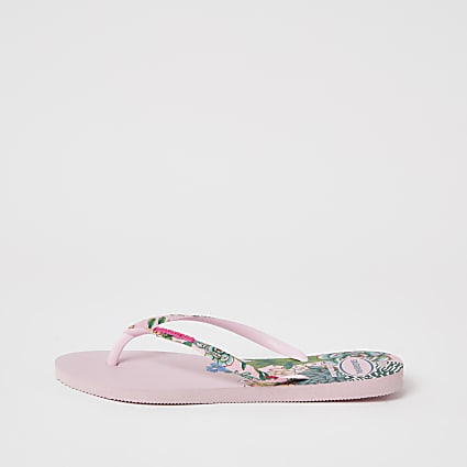 Haviana Pink Tropical Flatform Flip Flop