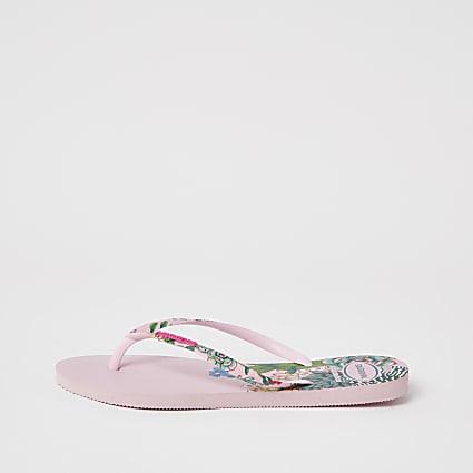 Haviana Pink Tropical Flatform Flip Flop