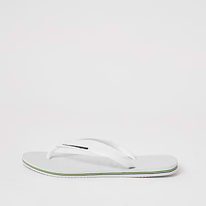 Haviana White Brazil Logo Flatform Flip Flop