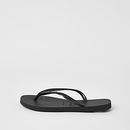 Havianas black slim flip flops