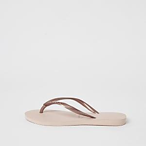 Havianas gold slim flip flops