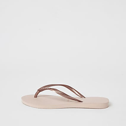 Havianas gold slim flip flops