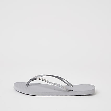 Havianas Grey Glitter Slim Flip Flops