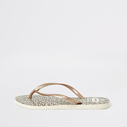Havianas rose gold slim flip flops