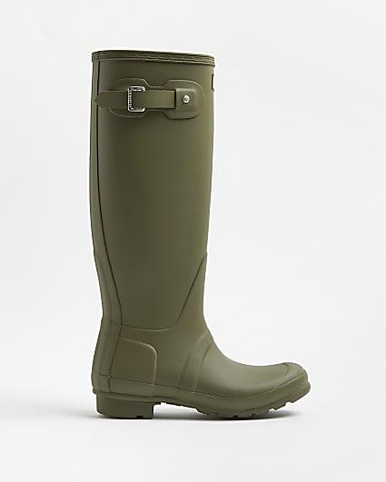 Hunter khaki wellington boots