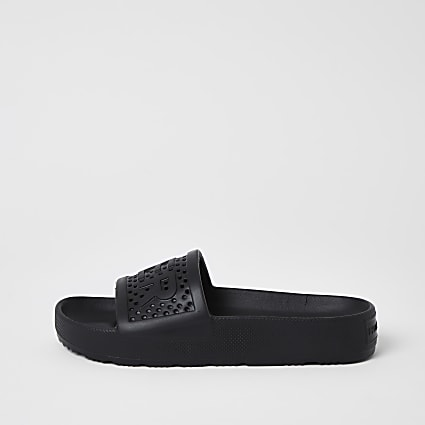 Hunter Originals black embossed sliders
