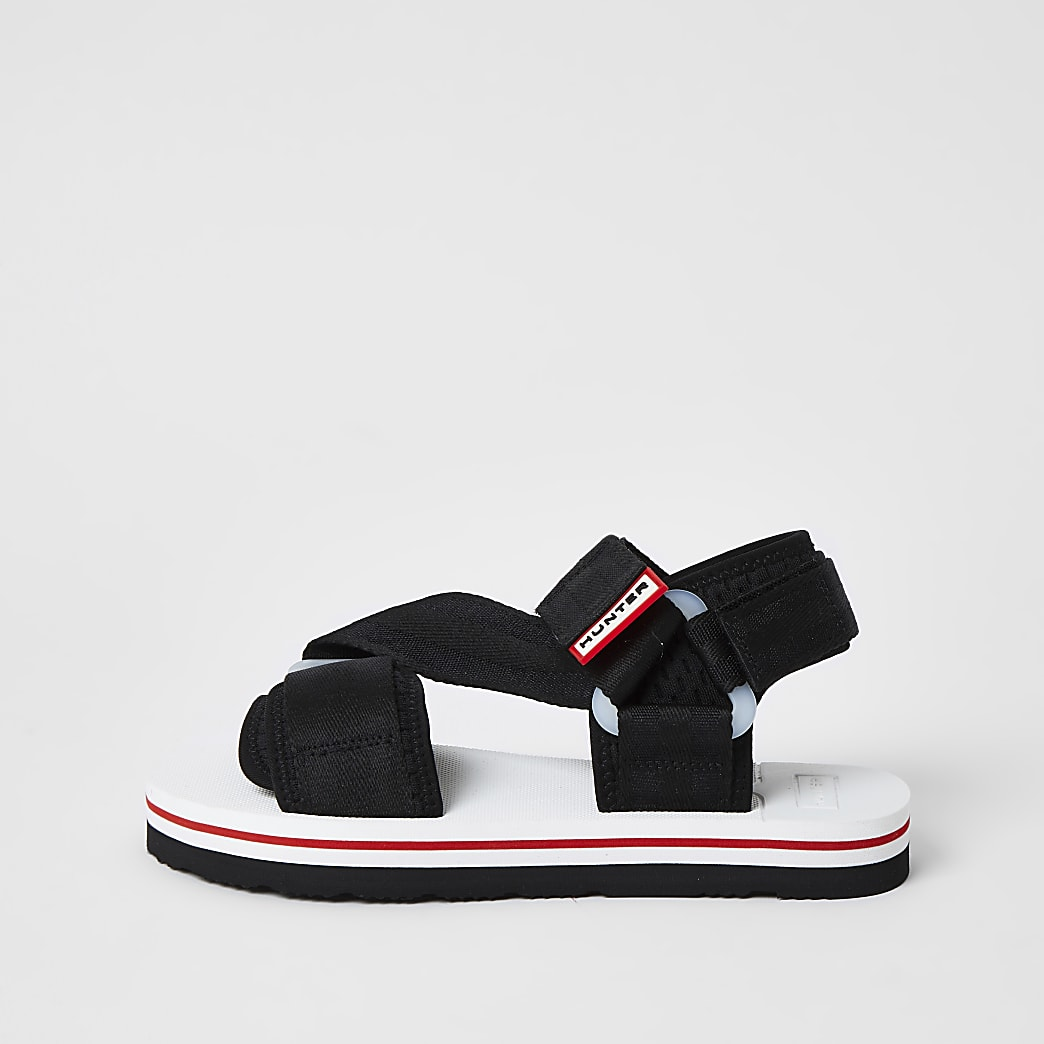 Hunter Originals black velcro strappy sandals