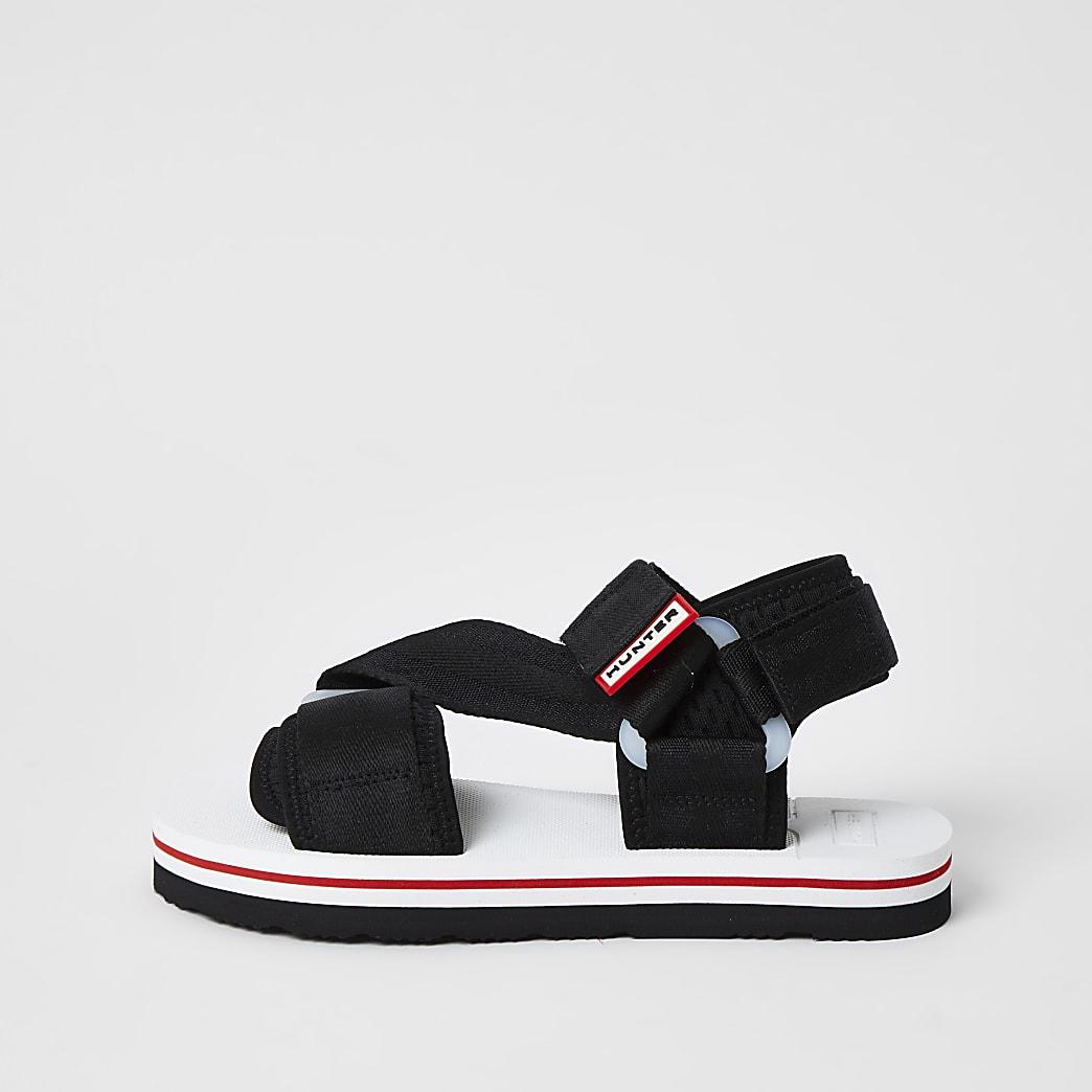 Hunter Originals - Zwarte sandalen met klittenbandjes