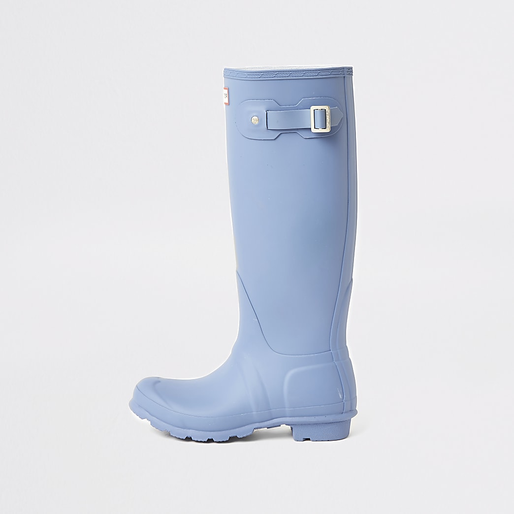 Hunter Originals tall blue wellington boots