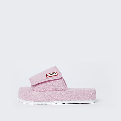 Hunter pink platform sliders