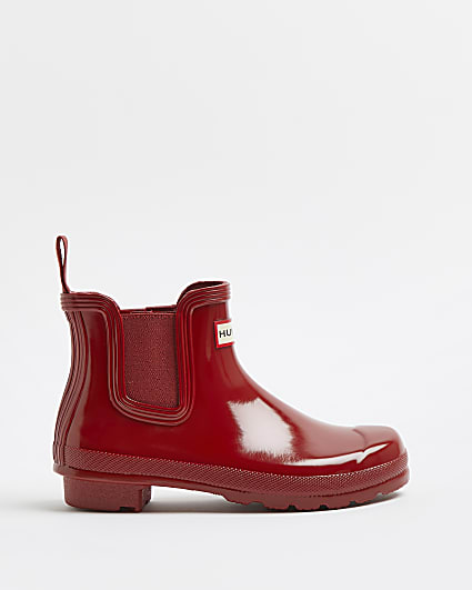 Hunter red chelsea wellington boots