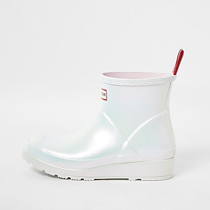 Hunter white short gloss boot wellies