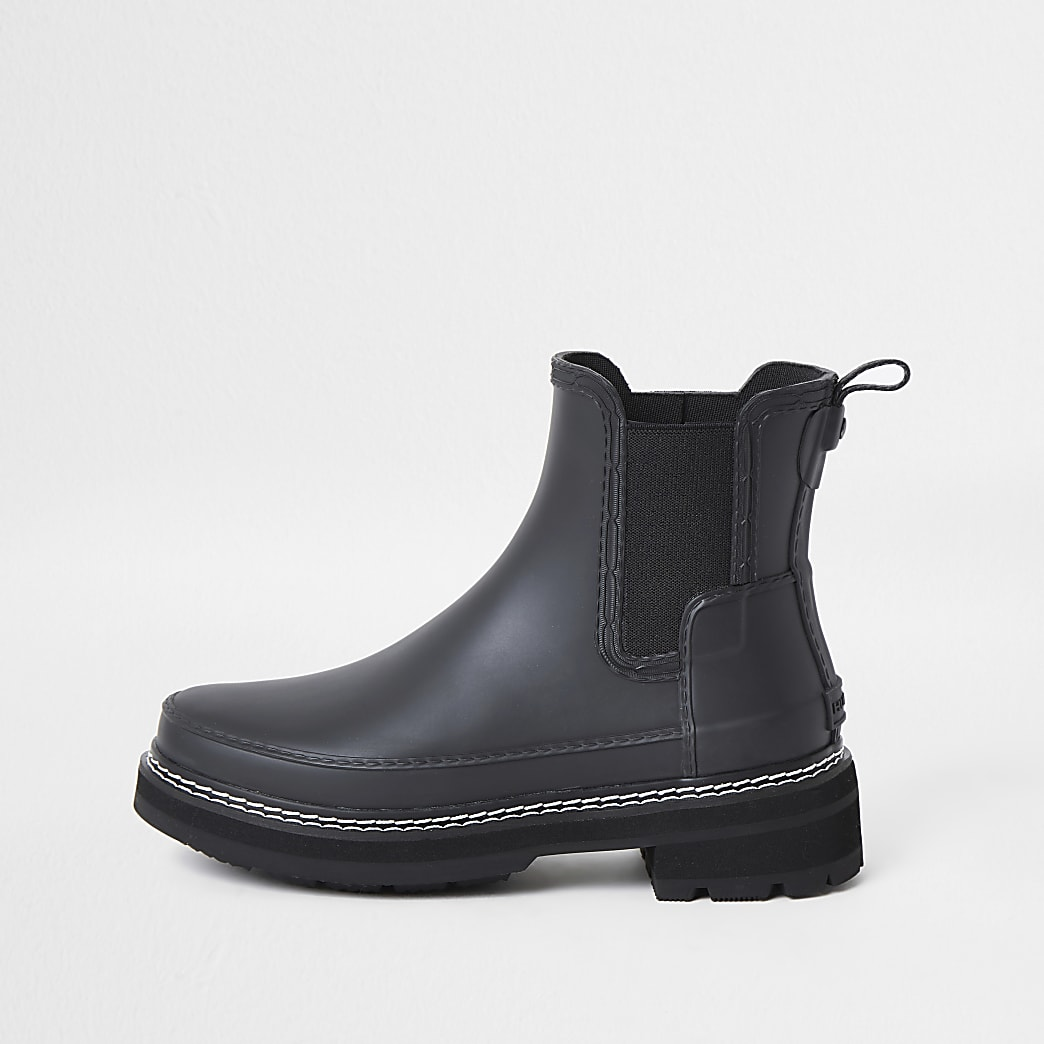 Hunters black refined stitch boots