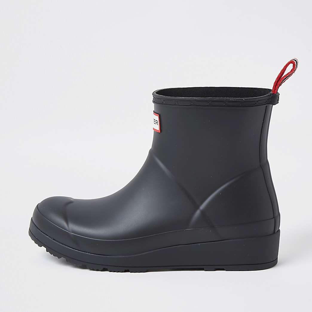 Hunters black short boot wellies