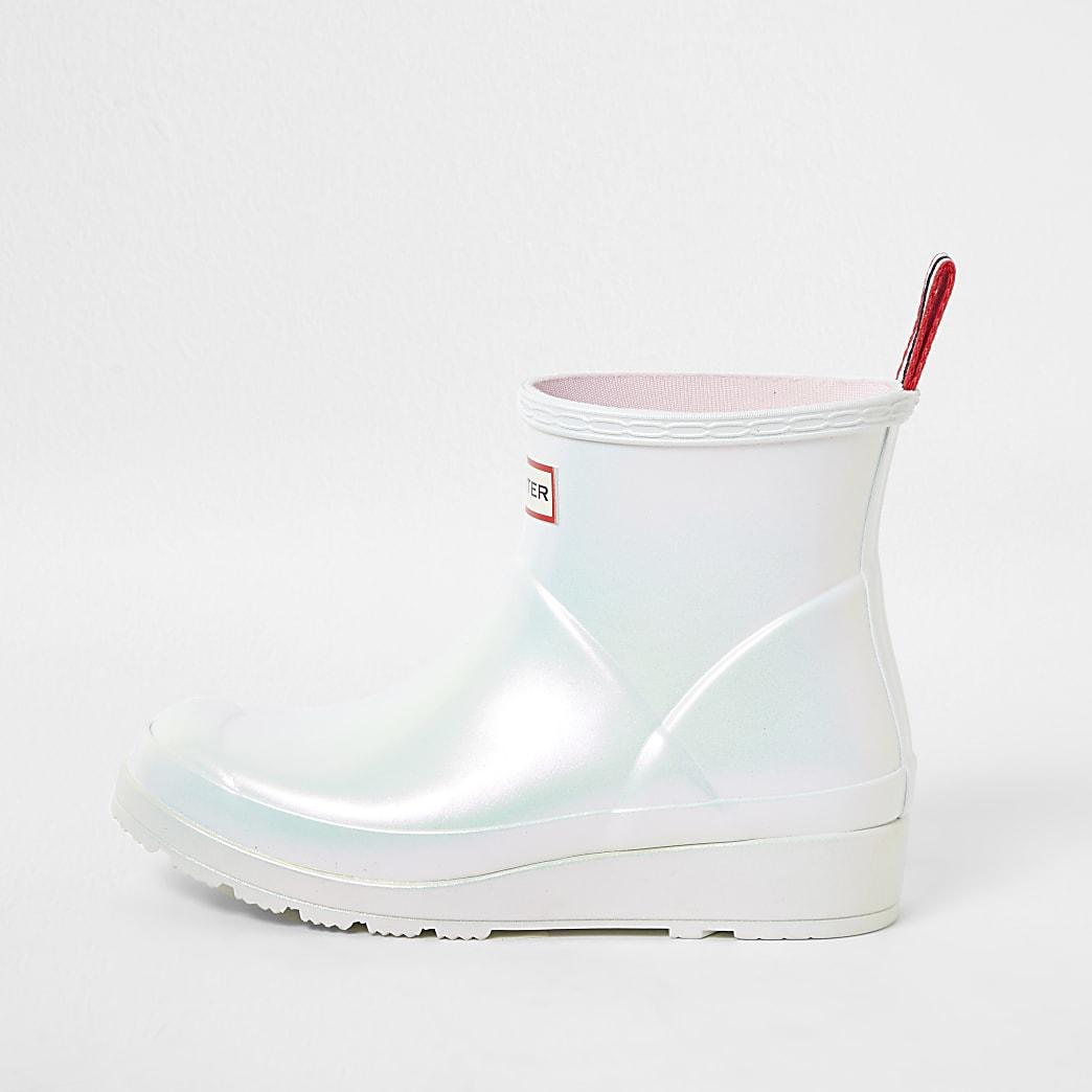 Hunters white short gloss boot wellies
