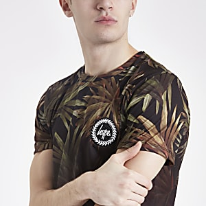Hype - Zwart T-shirt met vervaagde palmboomprint