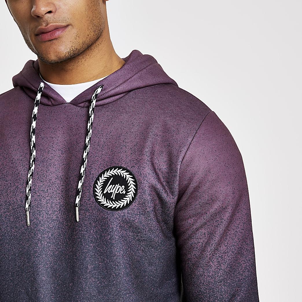 Hype - Donkerrode hoodiemet vervagende stippen