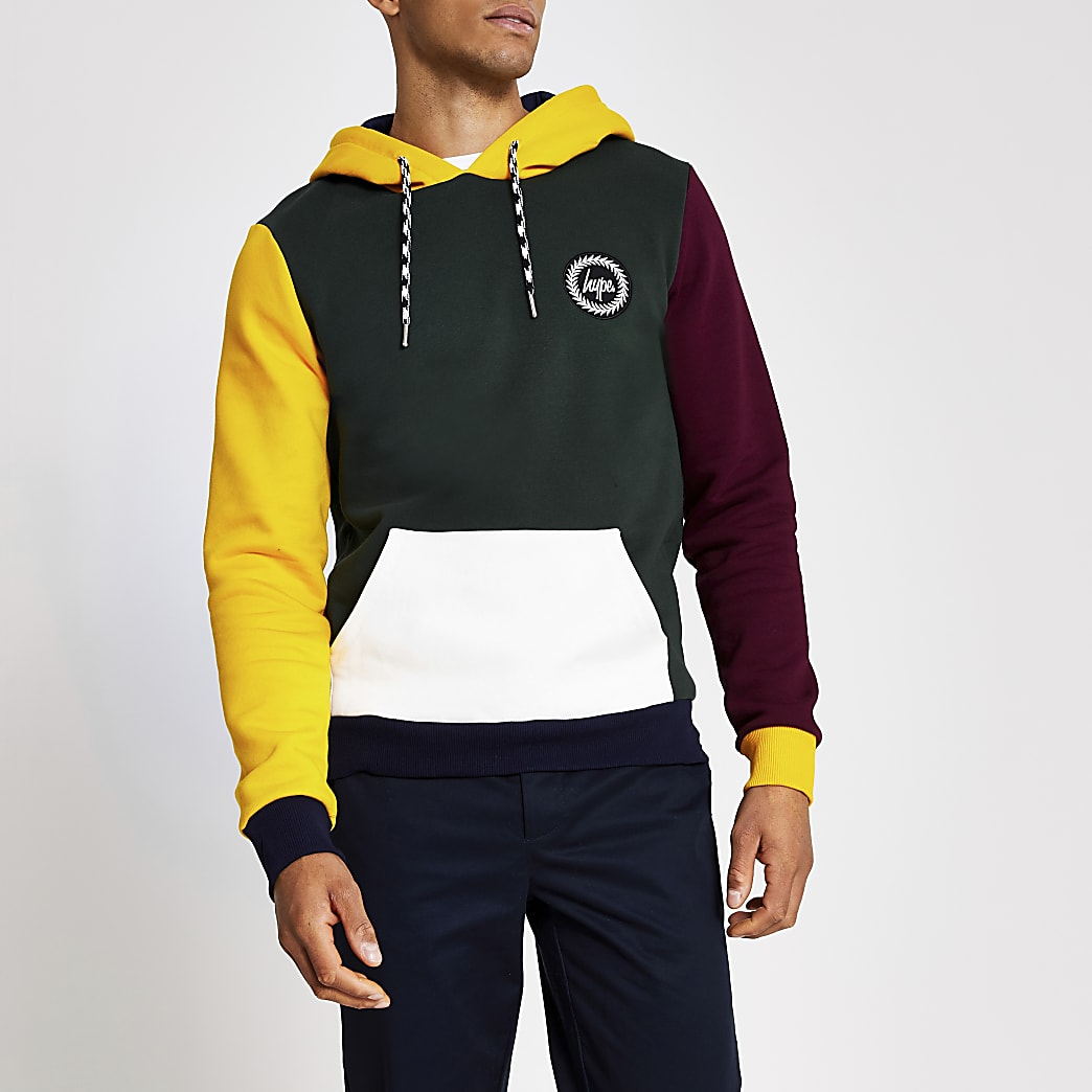 Hype green colour block hoodie