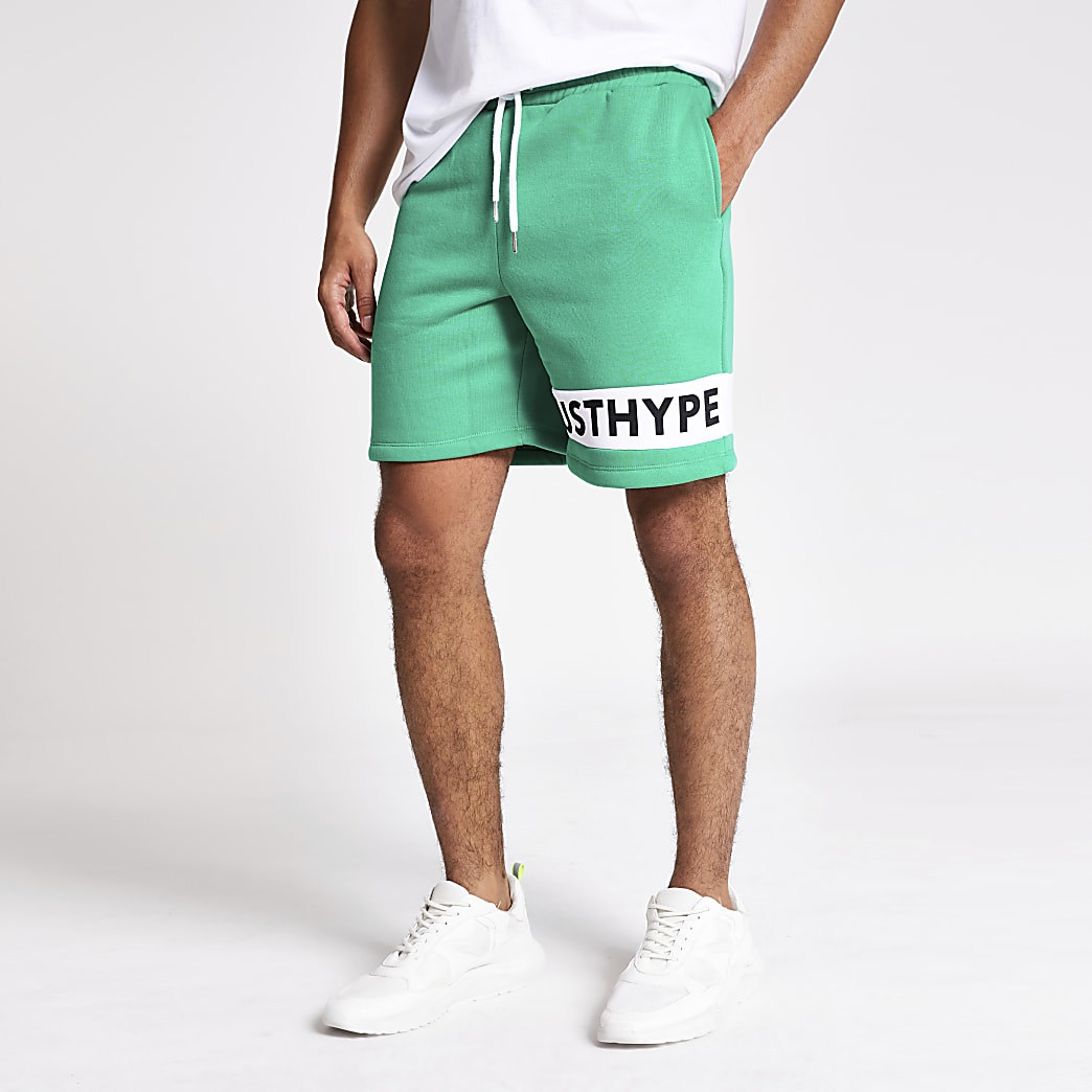 Hype green 'Just Hype' logo shorts