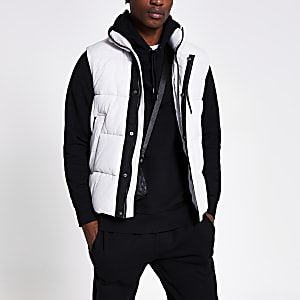 Ice grey padded gilet jacket