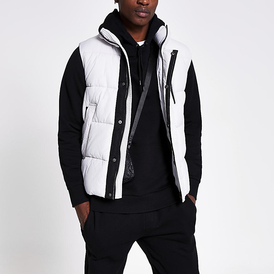 Ice grey padded gilet jacket