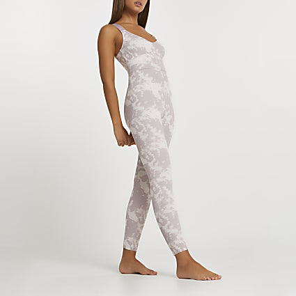 Intimate beige tie dye ribbed unitard