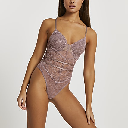 Intimates beige lace RI branded bodysuit