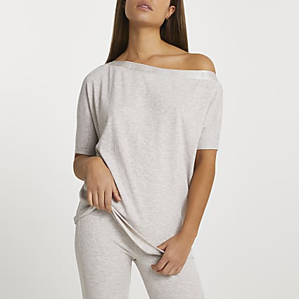 Intimates beige off shoulder bardot top