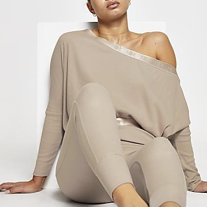 Intimates beige RI asymmetric sweatshirt
