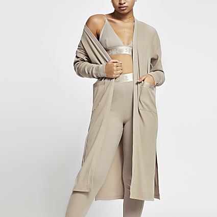 Intimates Beige RI branded longline cardigan