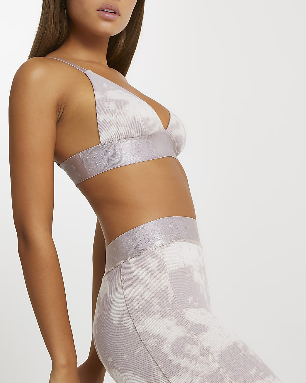 Intimates beige tie dye crop bralet top