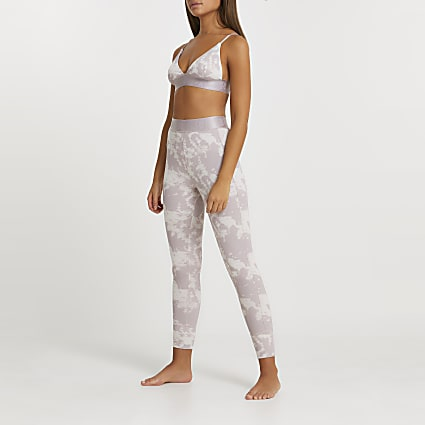Intimates beige tie dye ribbed leggings