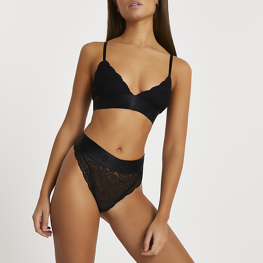 Intimates black lace bralet top