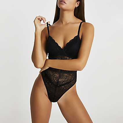 Intimates black lace RI branded bodysuit