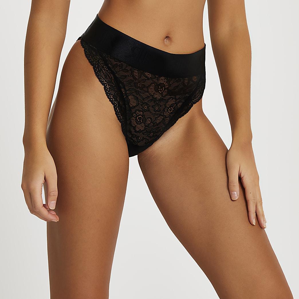 Intimates black lace RI knickers