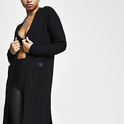 Intimates Black RI branded longline cardigan