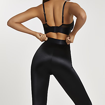 Intimates black RI branded satin leggings